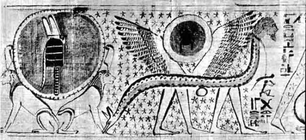 15.Egipto mitologija.Gyvate su kojom ir sparnais nesa Saulės diska.