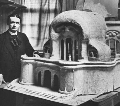 Rudolfas  Šteineris ir jo Goethaneum modelis, dedikuotas Gėtei.